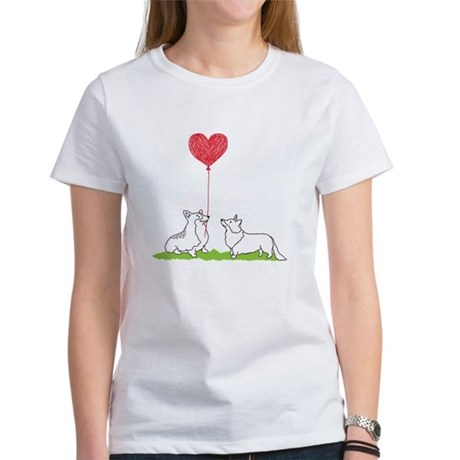 Corgi Heart Balloon Womenu0027s Comfort Colors T Shirt
