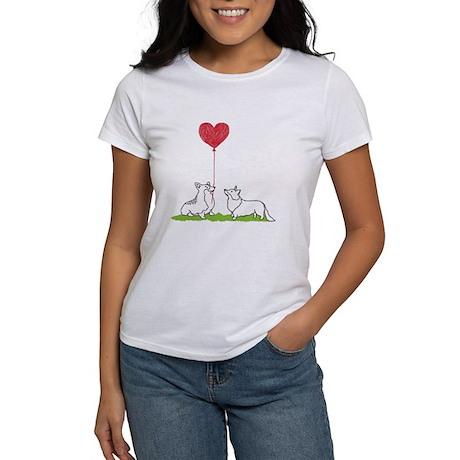 Corgi Heart Balloon Womenu0027s Comfort Colors T Shirt
