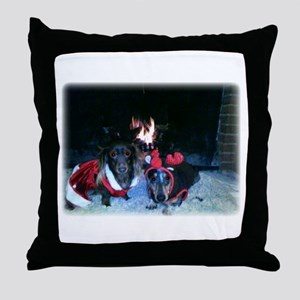 Christmas Dachshund duo Throw Pillow