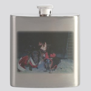 Christmas Dachshund duo Flask