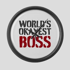 Worlds Okayest Boss Large Wall Clock
