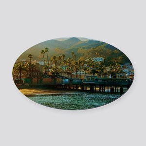 Catalina Pier Oval Car Magnet