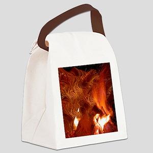 On Fire Digital art Canvas Lunch Bag