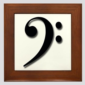 Bass Clef - Black with Shadow Framed Tile