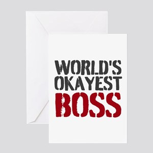 Funny boss greeting cards cafepress worlds okayest boss greeting cards m4hsunfo