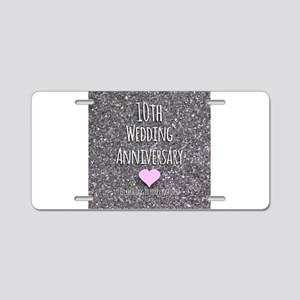 10th Wedding Anniversary Aluminum License Plate