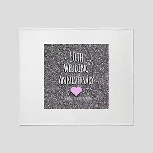 10th Wedding Anniversary Throw Blanket