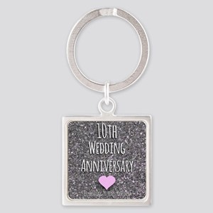 10th Wedding Anniversary Keychains