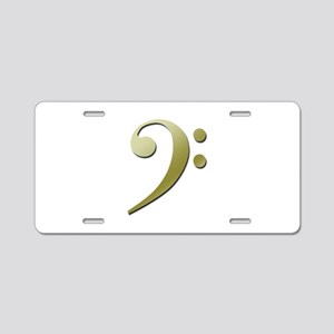 Bass Clef in Gold Aluminum License Plate