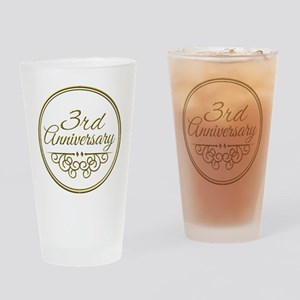 3rd Anniversary Drinking Glass