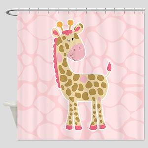 Pink Giraffe Shower Curtain Shower Curtain