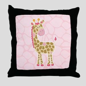 Pink Giraffe Shower Curtain Throw Pillow