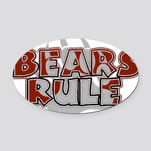 Bears Rule Brown on Silver Paw - HOT ! Oval Car Ma