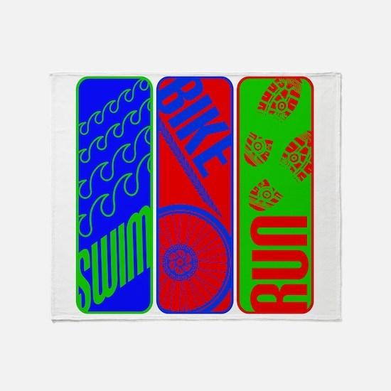 Triathlon TRI Swim Bike Run Colorful Throw Blanket