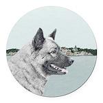Norwegian Elkhound Round Car Magnet