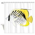 Threadfin Butterlyfish Shower Curtain