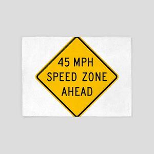 Speed Zone Ahead 5'x7'Area Rug