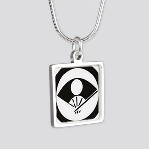 Japanese Mon Fan Silver Square Necklace