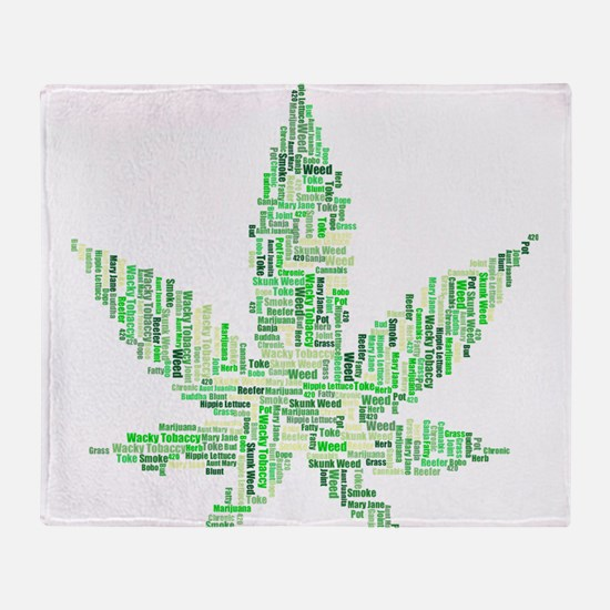 Marijuana, Pot, Hemp, Weed, Word Art Throw Blanket