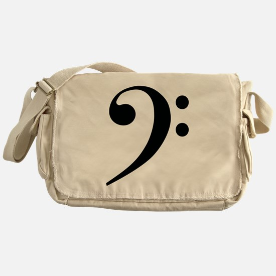 Bass Clef in Gold Messenger Bag