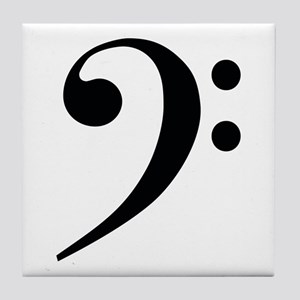 Bass Clef in Gold Tile Coaster