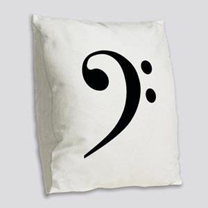 Bass Clef in Gold Burlap Throw Pillow