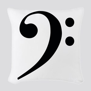 Bass Clef in Gold Woven Throw Pillow