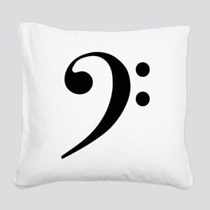 Bass Clef in Gold Square Canvas Pillow