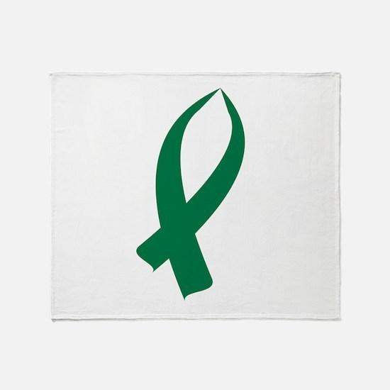 Awareness Ribbon (Green) Throw Blanket