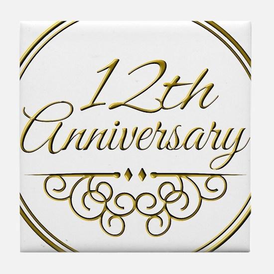 12th Anniversary Tile Coaster