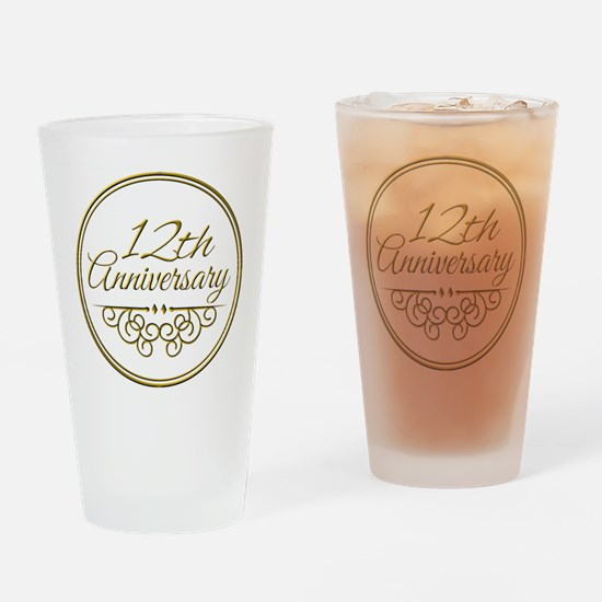 12th Anniversary Drinking Glass