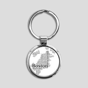 Boston Neighborhoods Cloud Map Round Keychain