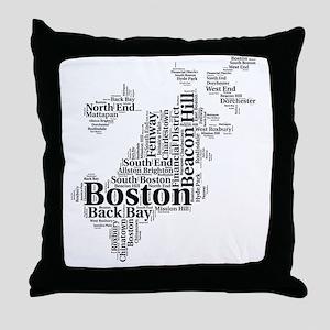 Boston Neighborhoods Cloud Map Throw Pillow