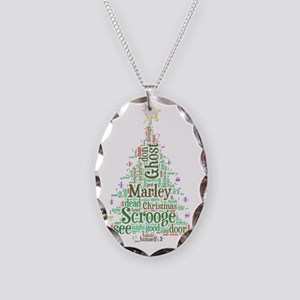 A Christmas Carol Word Cloud Necklace Oval Charm