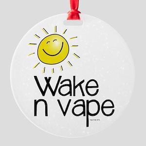 Wake -n- Vape Round Ornament