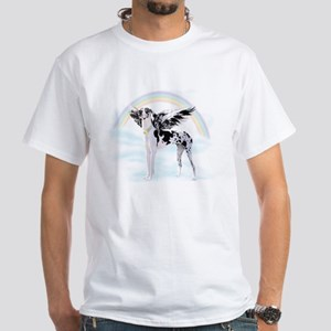 Harlequin Great Dane Angel RB White T-Shirt