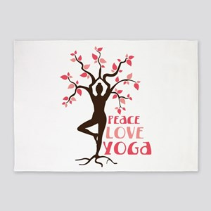 PEACE LOVE YOGA 5'x7'Area Rug