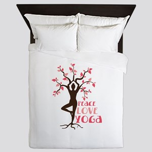 PEACE LOVE YOGA Queen Duvet