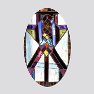 Fortify Stained Glass Panel 20x12 Oval Wall Decal