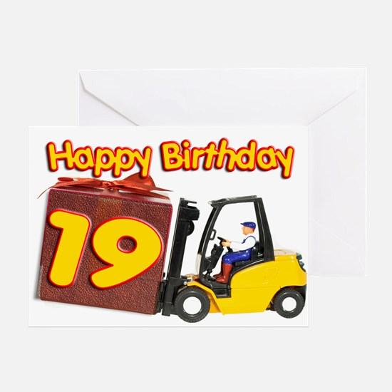 19th birthday card with a fork lift truck Greeting