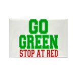Go Green, Stop at Red Rectangle Magnet (10 pack)