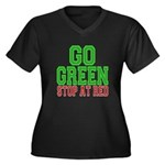 Go Green, Stop at Red Women's Plus Size V-Neck Dar