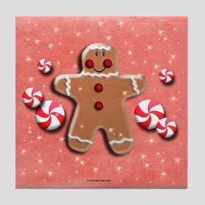Gingerbread Man Cookie Candies Tile Coaster