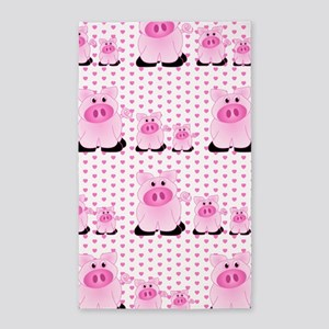 Adorable Country Pigs on Pink Hearts 3'x5' Area Ru