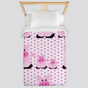 Adorable Country Pigs on Pink Hearts Twin Duvet