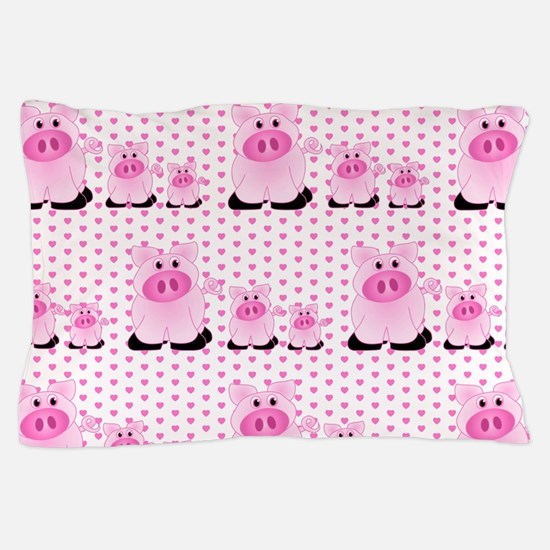 Adorable Country Pigs on Pink Hearts Pillow Case