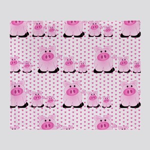 Adorable Country Pigs on Pink Hearts Throw Blanket