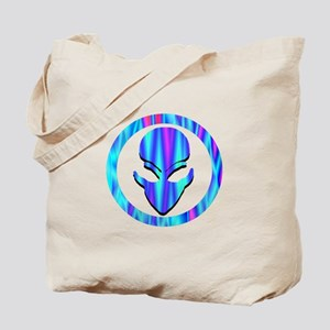 Aqua Blue Stripe Alien Face Tote Bag