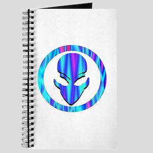 Aqua Blue Stripe Alien Face Journal