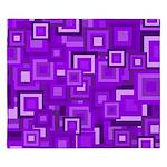 Purple Retro Squares Pattern King Duvet